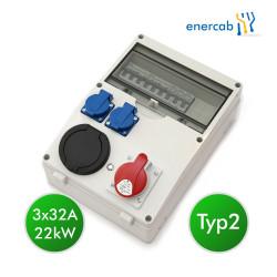 enercab wallbox T2 3x32A / CEE16 / 2xSchuko