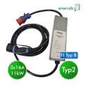 EV Portable Charger T2 3x16A + FI Typ B