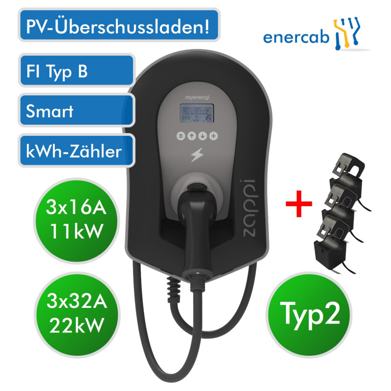 Zappi Charger PV T2 3x32A 22kW schwarz Kabel
