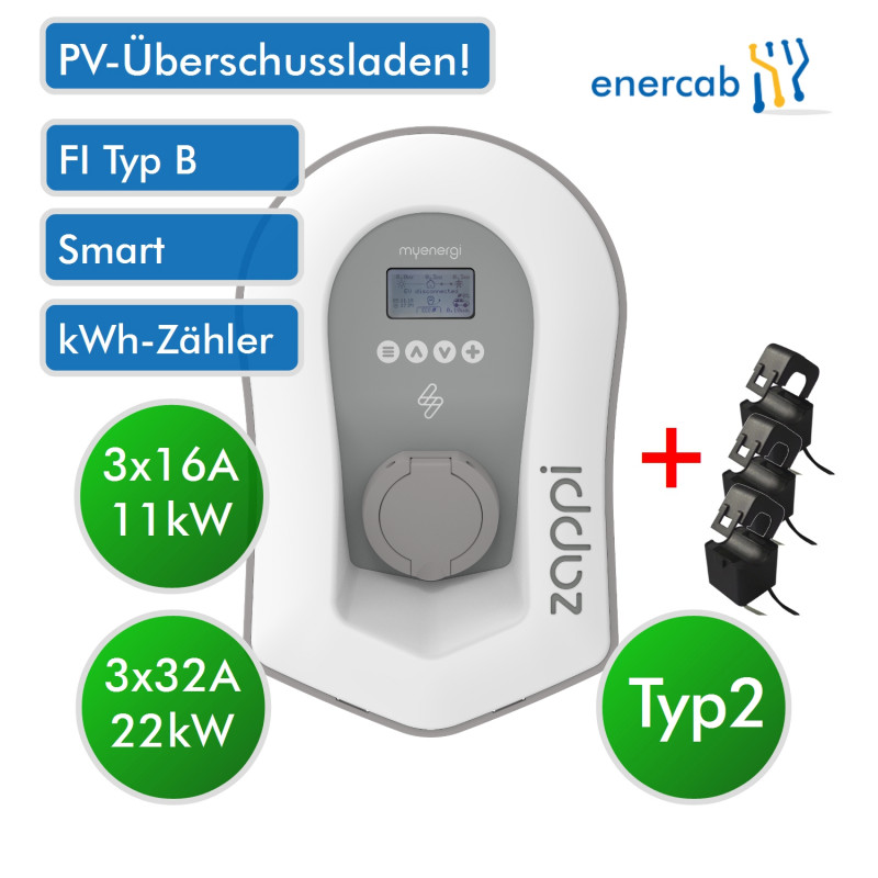 Zappi Charger PV T2 3x32A 22kW weiss Dose