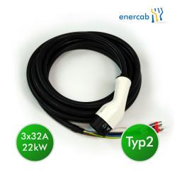 Ladekabel enercab Typ2-offenes Ende 3x32A 22kW 8m schwarz