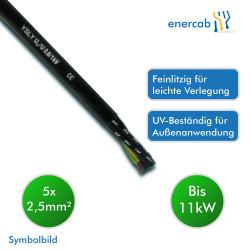 Energiekabel YSLY-JZ 600/1000V 5x2,5mm² schwarz