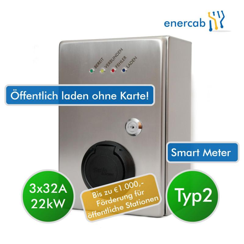 enercab wallbox edelstahl T2 3x32A